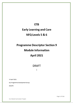 ETB  Early Learning and Care NFQ Levels 5 & 6  Programme Descriptor Section 9 Module Information