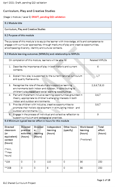 Draft Curriculum, Play and Creative Studies Module (Stage 1)