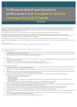 New QQI award standards for Early Learning and Care